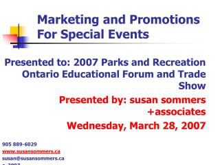 Marketing and Promotions For Special Events