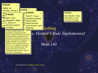 Hashing  Basic Ideas, Horner's Rule Implemented