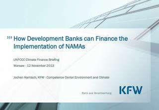 How Development Banks can Finance the Implementation of NAMAs