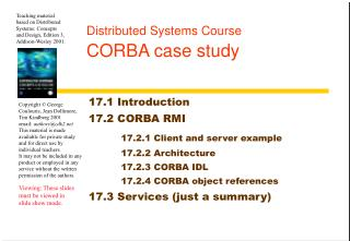Distributed Systems Course CORBA case study