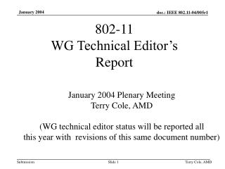 802-11  WG Technical Editor's  Report