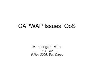 CAPWAP Issues: QoS