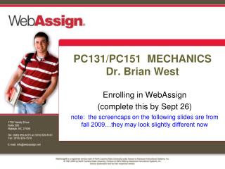 PC131/PC151  MECHANICS Dr. Brian West