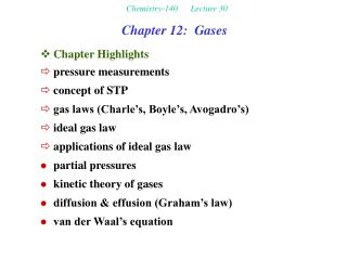 Chemistry-140 Lecture 30