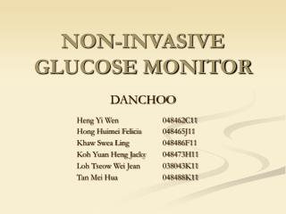 NON-INVASIVE GLUCOSE MONITOR
