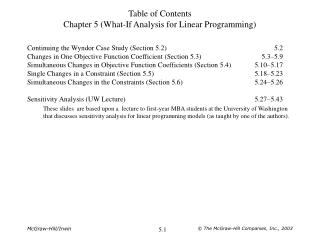 Table of Contents Chapter 5 (What-If Analysis for Linear Programming)