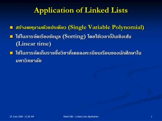 Application of Linked Lists