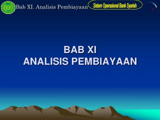 BAB XI ANALISIS PEMBIAYAAN