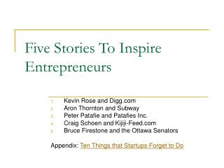Five Stories To Inspire Entrepreneurs