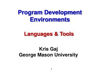 Program Development Environments