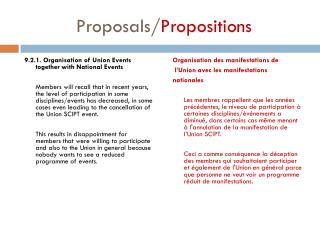Proposals/ Propositions