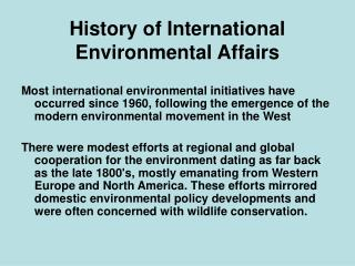 History of International Environmental Affairs