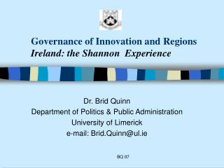 Governance of Innovation and Regions Ireland: the Shannon  Experience