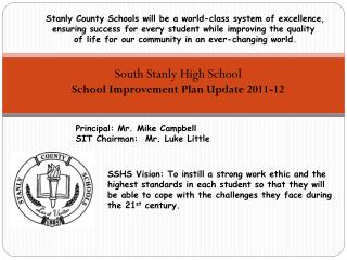 South Stanly High School School Improvement Plan  Update 2011-12