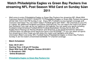Watch Philadelphia Eagles vs Green Bay Packers live streamin
