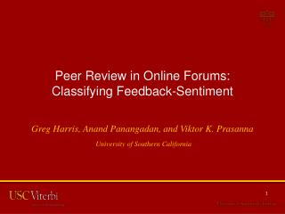 Peer Review in Online Forums: Classifying Feedback-Sentiment