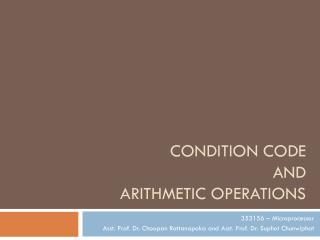 Condition code  and Arithmetic Operations