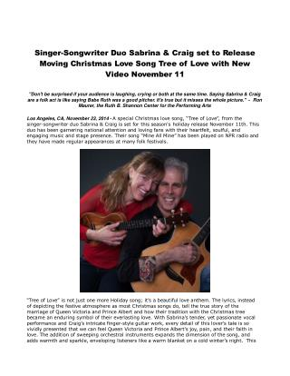 Singer-Songwriter Duo Sabrina & Craig set to Release