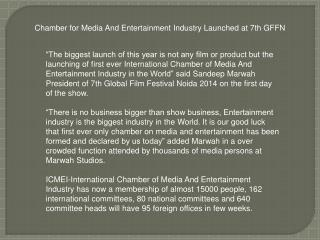 Chamber for Media And Entertainment Industry Launched GFFN