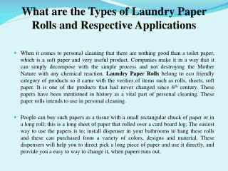 What are the Types of Laundry Paper Rolls and Respective App
