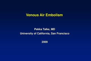 Venous Air Embolism