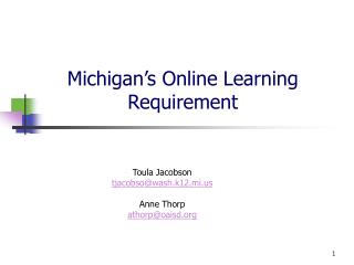 Michigan's Online Learning Requirement