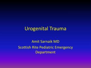 Urogenital Trauma