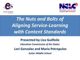 The Nuts and Bolts of  Aligning Service-Learning  with Content Standards