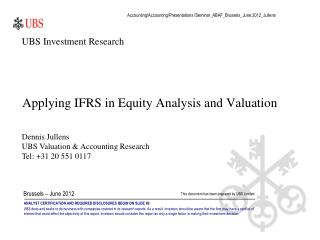 Applying IFRS in Equity Analysis and Valuation