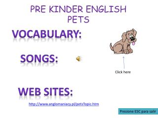 PRE KINDER ENGLISH PETS