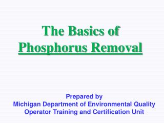 The Basics of Phosphorus Removal