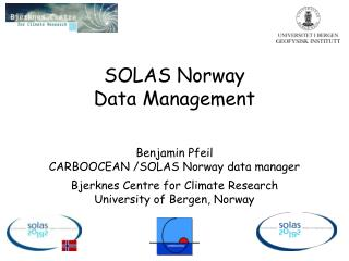 SOLAS Norway Data Management