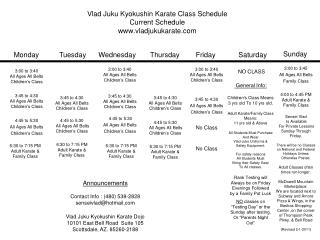 Vlad Juku Kyokushin Karate Class Schedule Current Schedule vladjukukarate