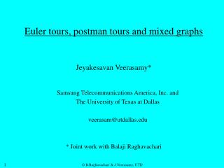 Euler tours, postman tours and mixed graphs