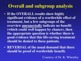 Overall and subgroup analysis