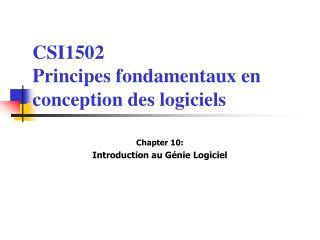 CSI1502 Principes fondamentaux en conception des logiciels