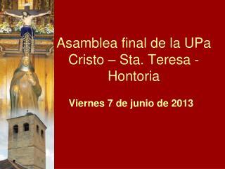 Asamblea final de la UPa Cristo – Sta. Teresa - Hontoria