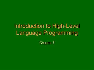 Introduction to High-Level Language Programming