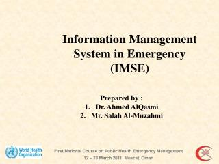 Prepared by :  Dr. Ahmed AlQasmi Mr. Salah Al-Muzahmi