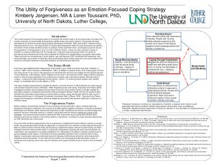 The Utility of Forgiveness as an Emotion-Focused Coping Strategy