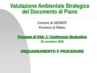 Valutazione Ambientale Strategica del Documento di Piano