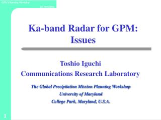 Ka-band Radar for GPM: Issues