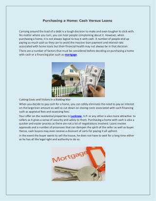 Purchasing a Home: Cash Versus Loans
