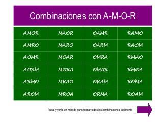 Combinaciones con A-M-O-R