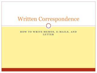 Written Correspondence