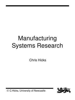 Manufacturing Systems Research