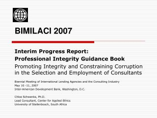 Interim Progress Report: Professional Integrity Guidance Book
