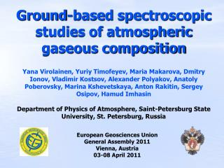 European Geosciences Union General Assembly 2011 Vienna, Austria 03-08 April 2011