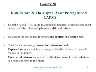 Risk Return & The Capital Asset Pricing Model (CAPM)