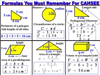 Formulas You Must Remember For CAHSEE